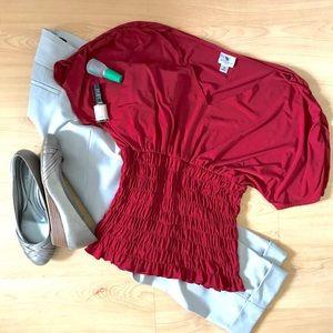Size M Scarlett Shirt w/ rouching & dolman sleeves